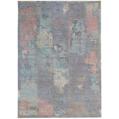 New Area Rug with Modern Watercolor Art Design Made of Fine Wool and Real Silk