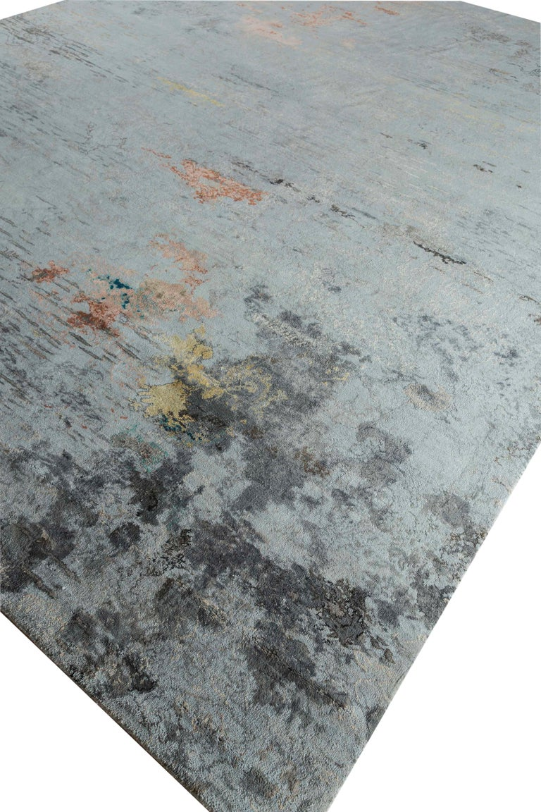 Hand-Woven New Area Rug with Modern Watercolor Art Design Made of Fine Wool and Real Silk For Sale