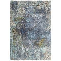 New Area Rug with Modern Watercolor Art Design Made of Fine Wool & Real Silk