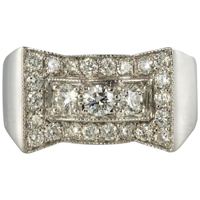 Art Deco Style 0.87 Carat Diamonds 18 Karat White Gold Ring
