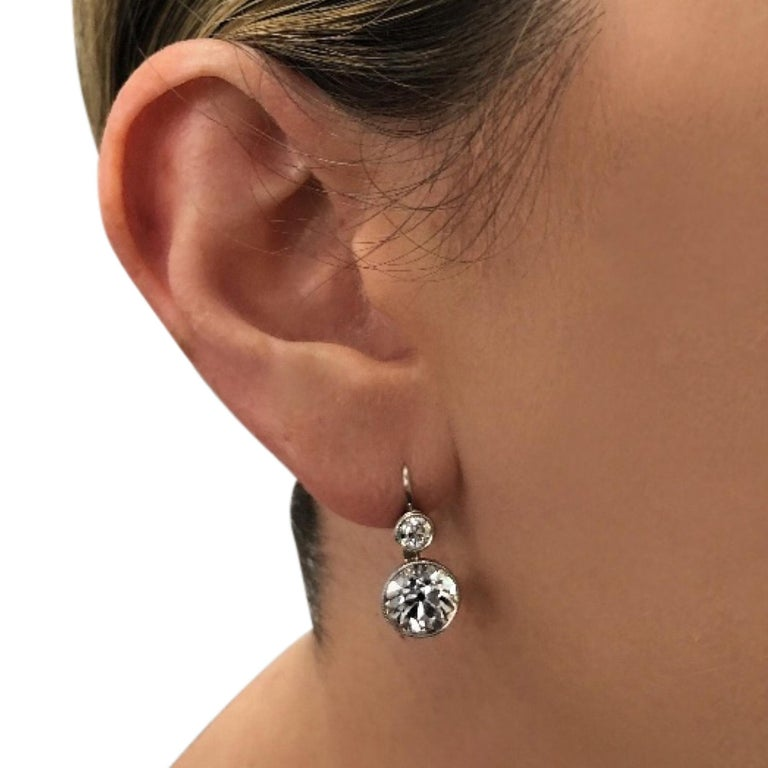 New Art Deco Style 6.67 Carat Old European Cut Diamond Dangle Platinum Earrings In Excellent Condition For Sale In Miami, FL