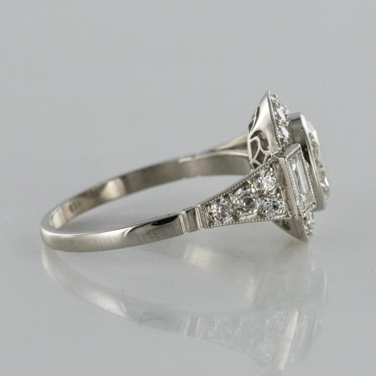 New Art Deco Style Diamond Platinum Ring For Sale 6