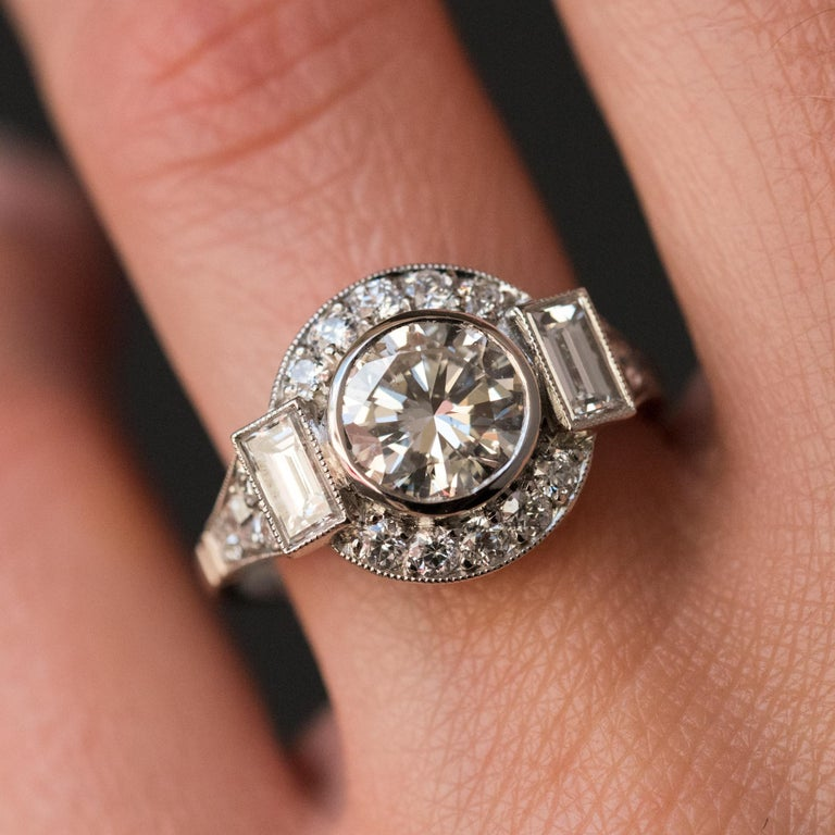 New Art Deco Style Diamond Platinum Ring For Sale 7