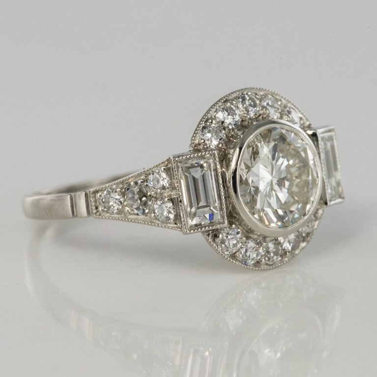 New Art Deco Style Diamond Platinum Ring For Sale 8