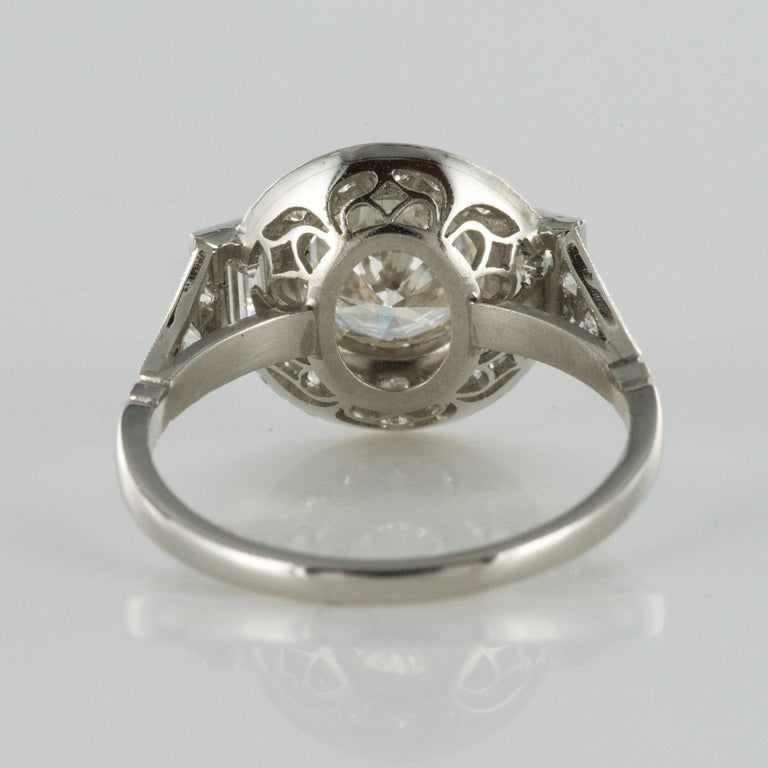 New Art Deco Style Diamond Platinum Ring For Sale 9