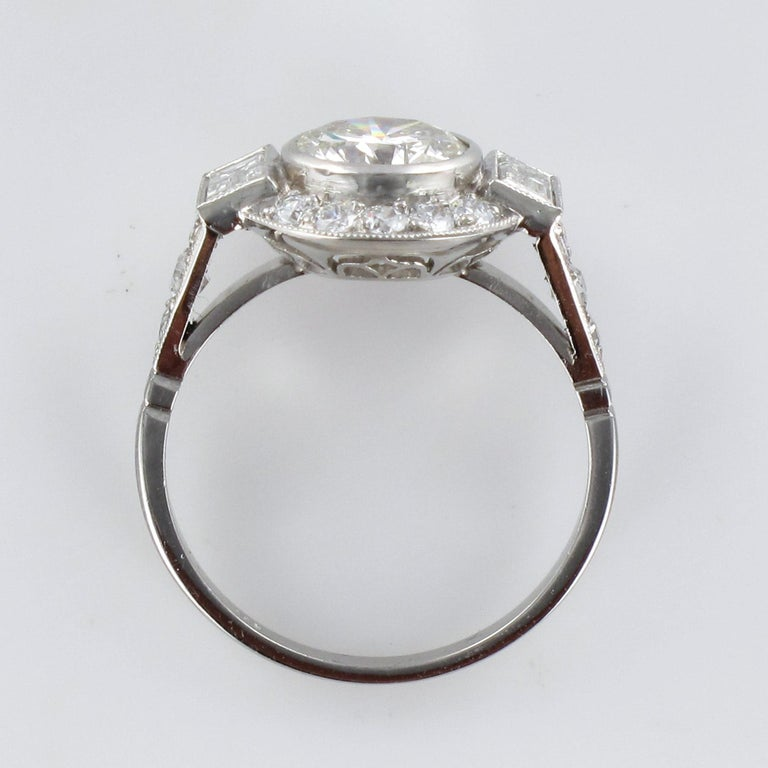 New Art Deco Style Diamond Platinum Ring For Sale 11