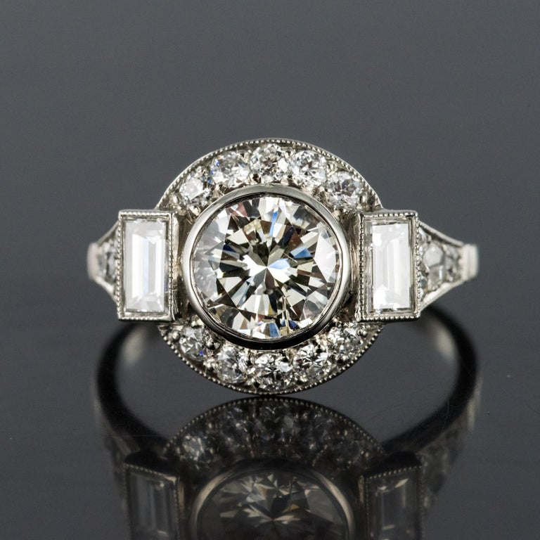 New Art Deco Style Diamond Platinum Ring In New Condition For Sale In Poitiers, FR