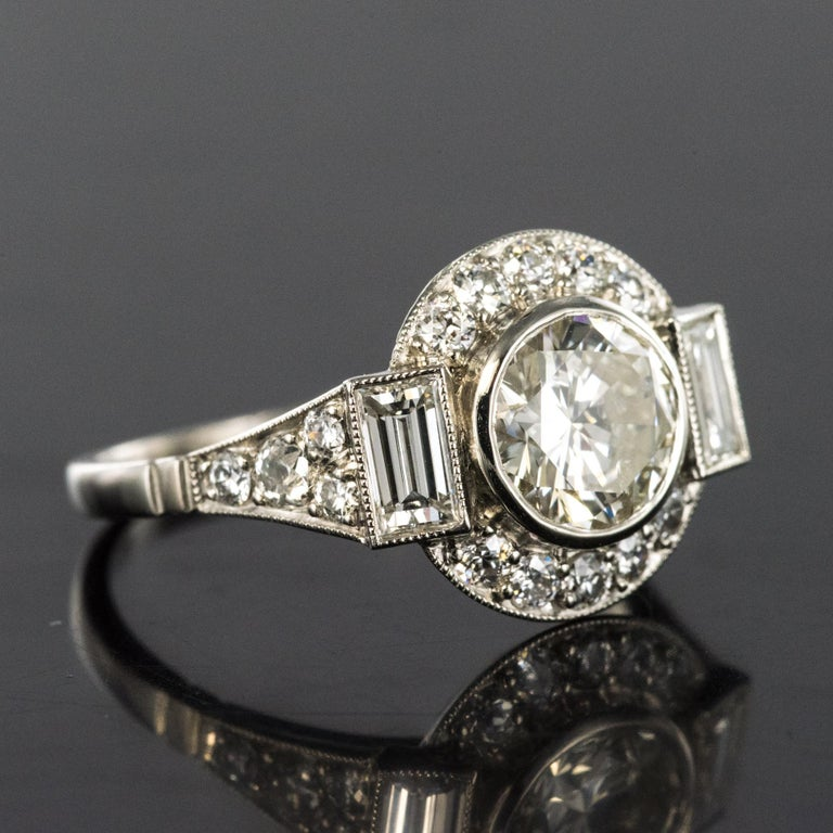 Women's New Art Deco Style Diamond Platinum Ring For Sale