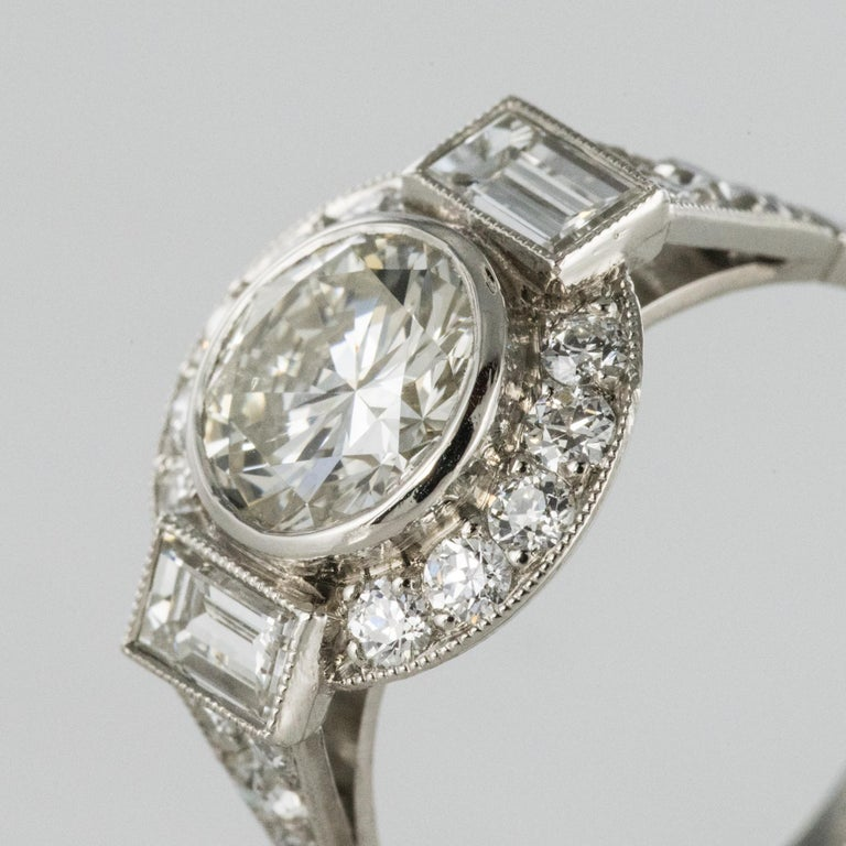 New Art Deco Style Diamond Platinum Ring For Sale 2