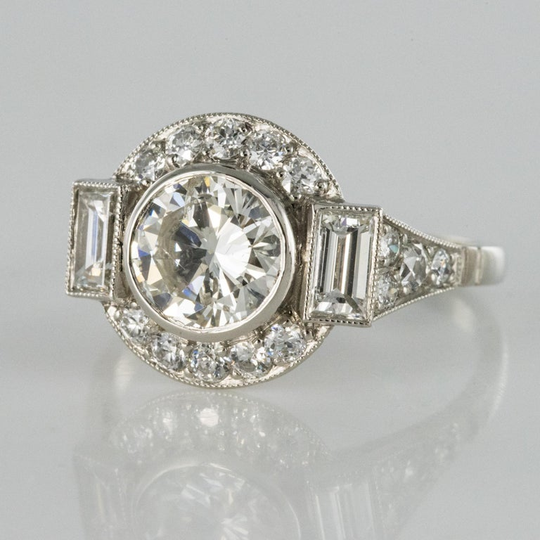 New Art Deco Style Diamond Platinum Ring For Sale 3