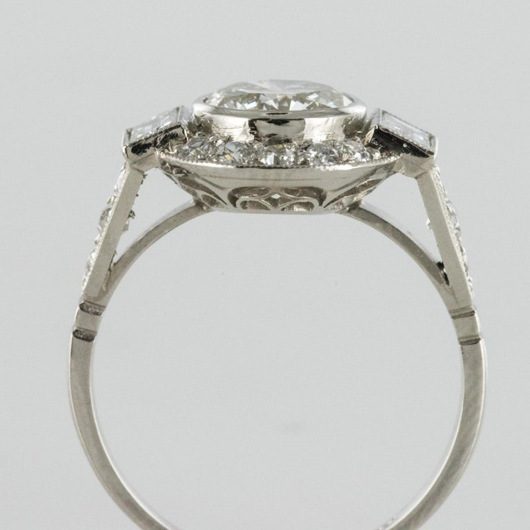 New Art Deco Style Diamond Platinum Ring For Sale 5