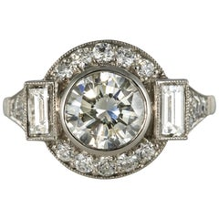 New Art Deco Style Diamond Platinum Ring