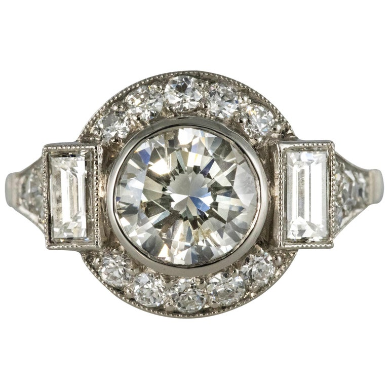 New Art Deco Style Diamond Platinum Ring For Sale