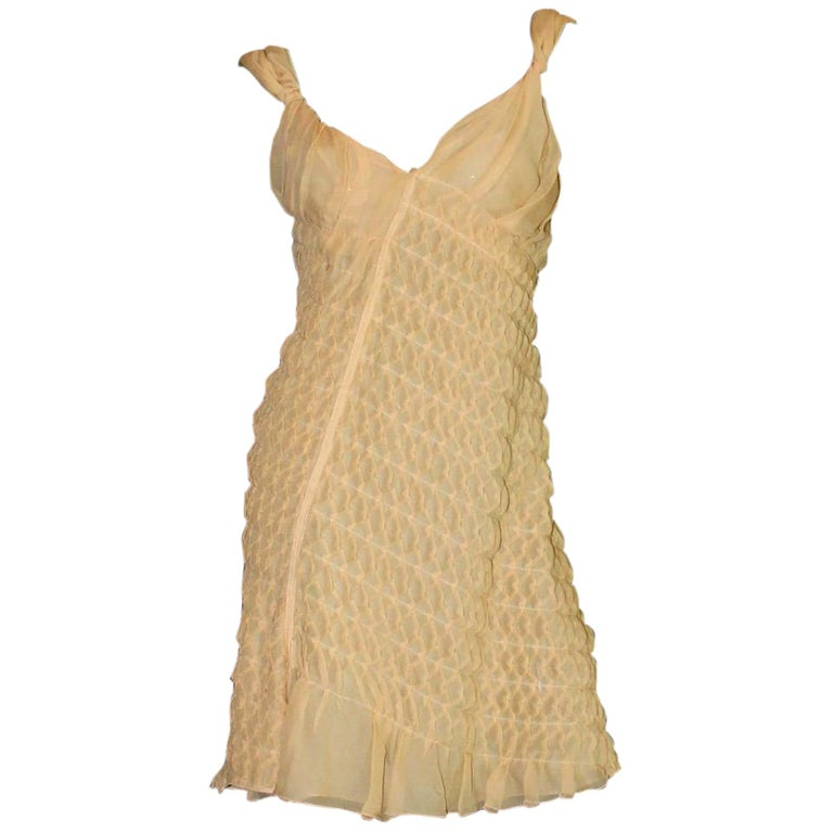 NEW Asymmetric Prada 3D Silk Chiffon Draped Fairy Cocktail Dress For Sale
