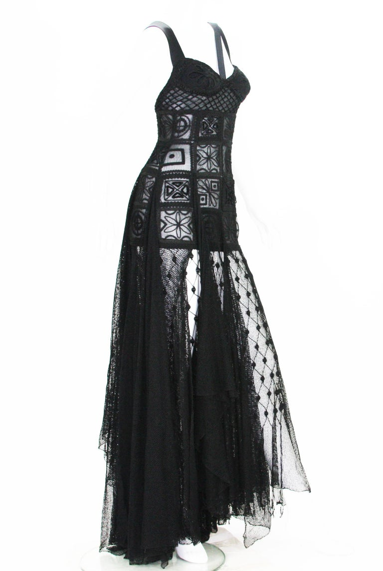 New Atelier Versace F/W 1993 Sheer Black Net Embroidered Dress Gown For Sale 6