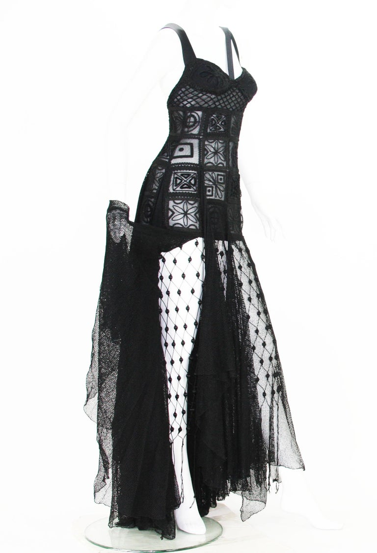 New Atelier Versace F/W 1993 Sheer Black Net Embroidered Dress Gown For Sale 7