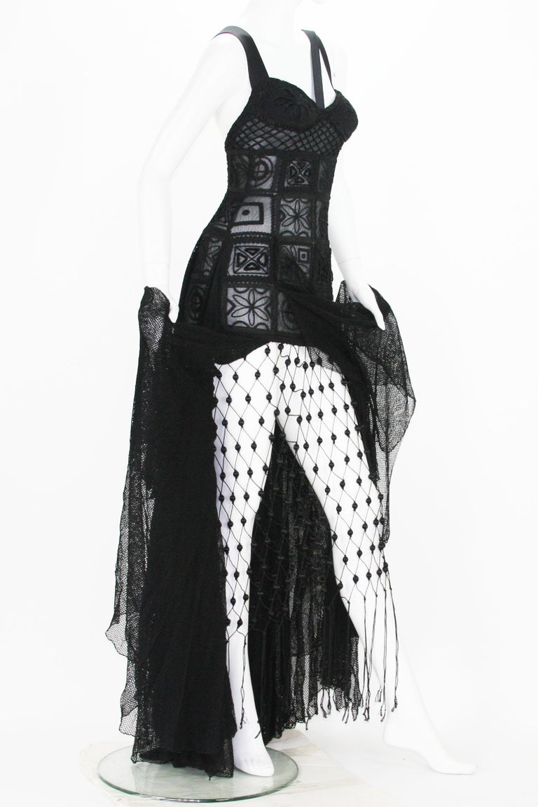 New Atelier Versace F/W 1993 Sheer Black Net Embroidered Dress Gown For Sale 8