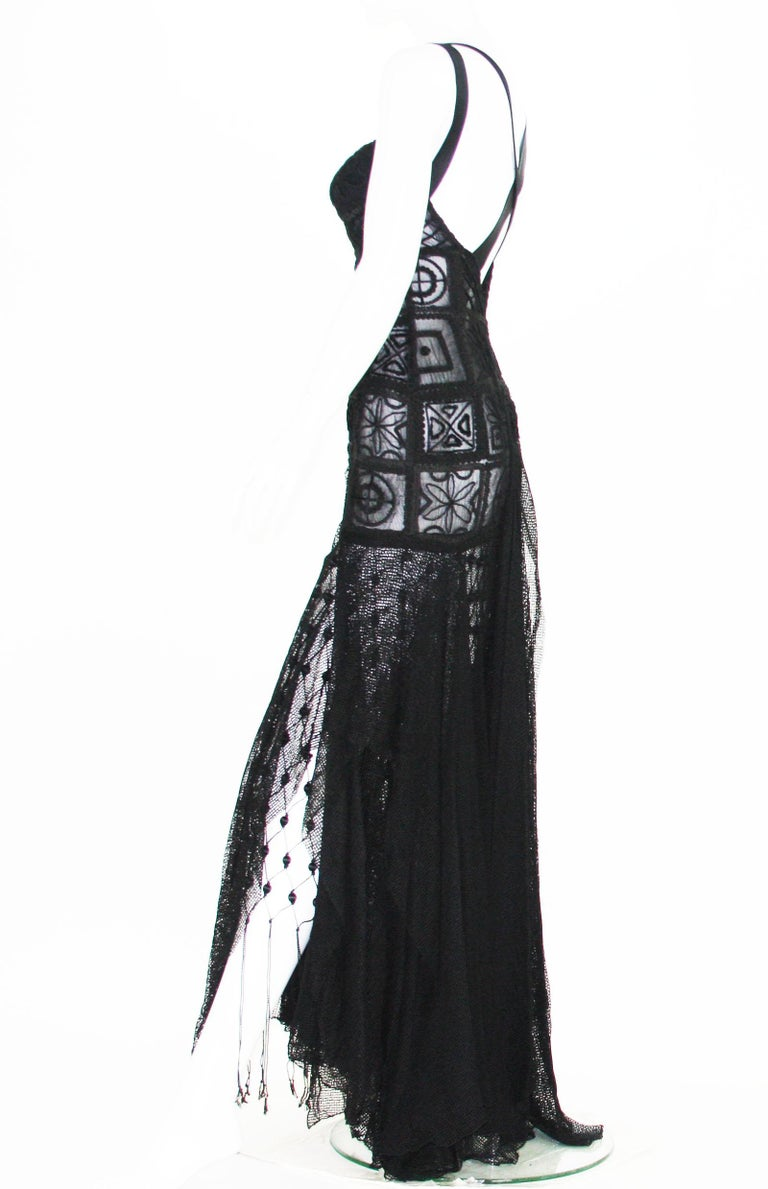New Atelier Versace F/W 1993 Sheer Black Net Embroidered Dress Gown For Sale 9