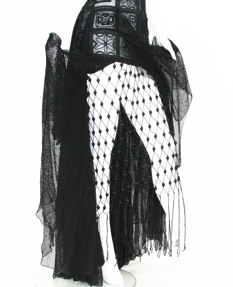 aae62b02c51 New Atelier Versace F W 1993 Sheer Black Net Embroidered Dress Gown For Sale  11