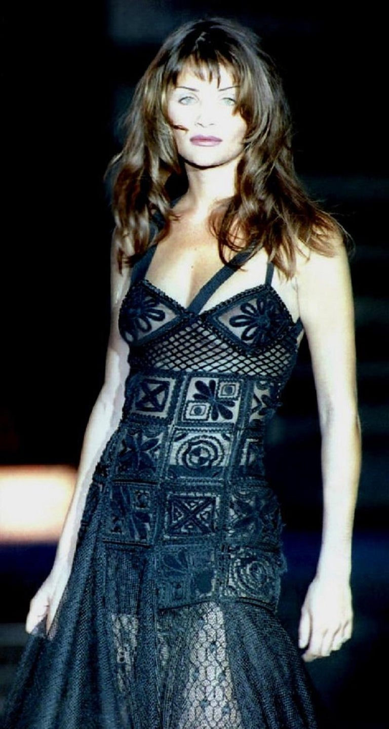 New Atelier Versace F/W 1993 Sheer Black Net Embroidered Dress Gown For Sale 1