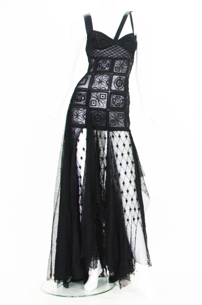 New Atelier Versace F/W 1993 Sheer Black Net Embroidered Dress Gown For Sale 5