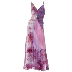 New Atelier Versace S/S 1994 Collection Velvet Lace Purple Pink Dress Gown