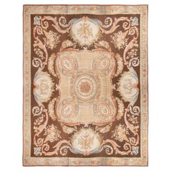 New Aubusson Pink and Brown Wool Rug with All-Over Floral Patterns
