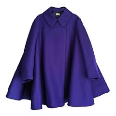 New AZZEDINE ALAÏA  Felted Wool Babydoll Cape in Indigo FR38 US 4-6