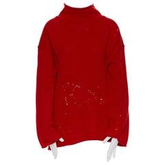 new B YOHJI YAMAMOTO Unisex 100% wool red distressed holey raw edge turtleneck M