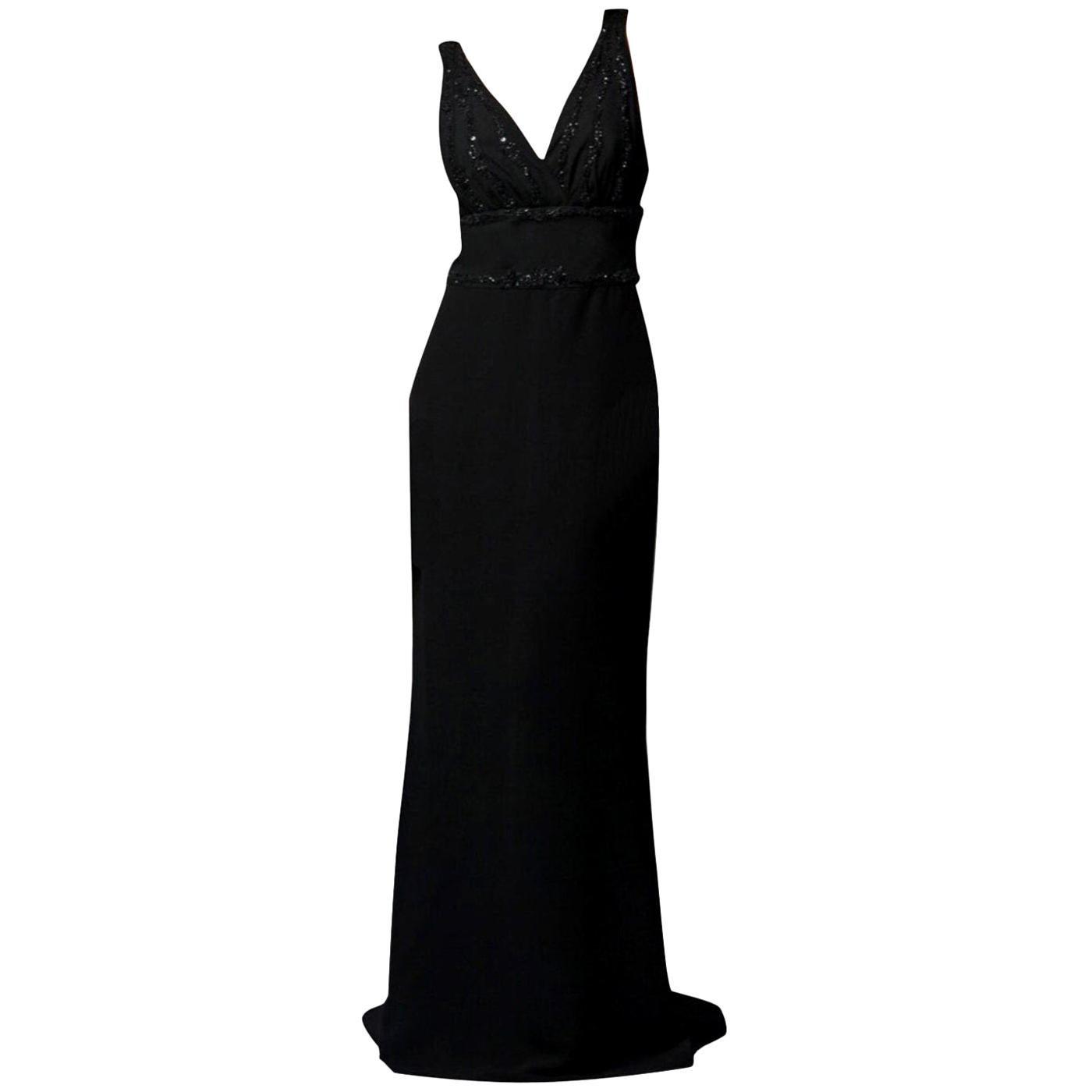 New Badgley Mischka Couture Beaded Evening Dress Gown Sz 4
