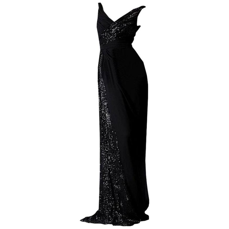 New Badgley Mischka Couture Beaded Evening Dress Gown Sz 4 For Sale