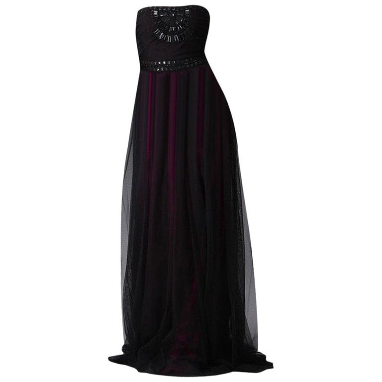 New Badgley Mischka Couture Beaded Evening Dress Gown  Sz 6 For Sale
