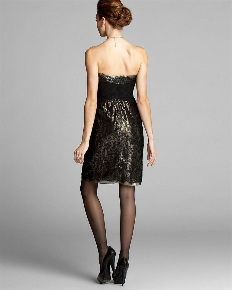 New Badgley Mischka Couture Black Lace and Gold Lame Cocktail Dress Sz 2 In New Condition For Sale In Leesburg, VA