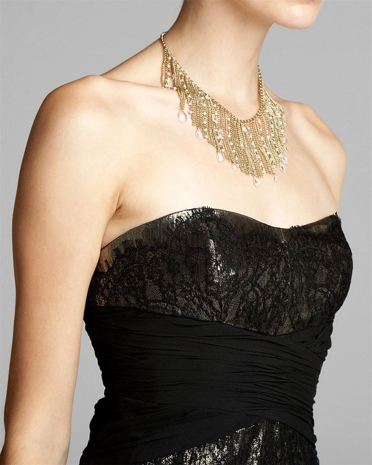 Women's New Badgley Mischka Couture Black Lace and Gold Lame Cocktail Dress Sz 2 For Sale