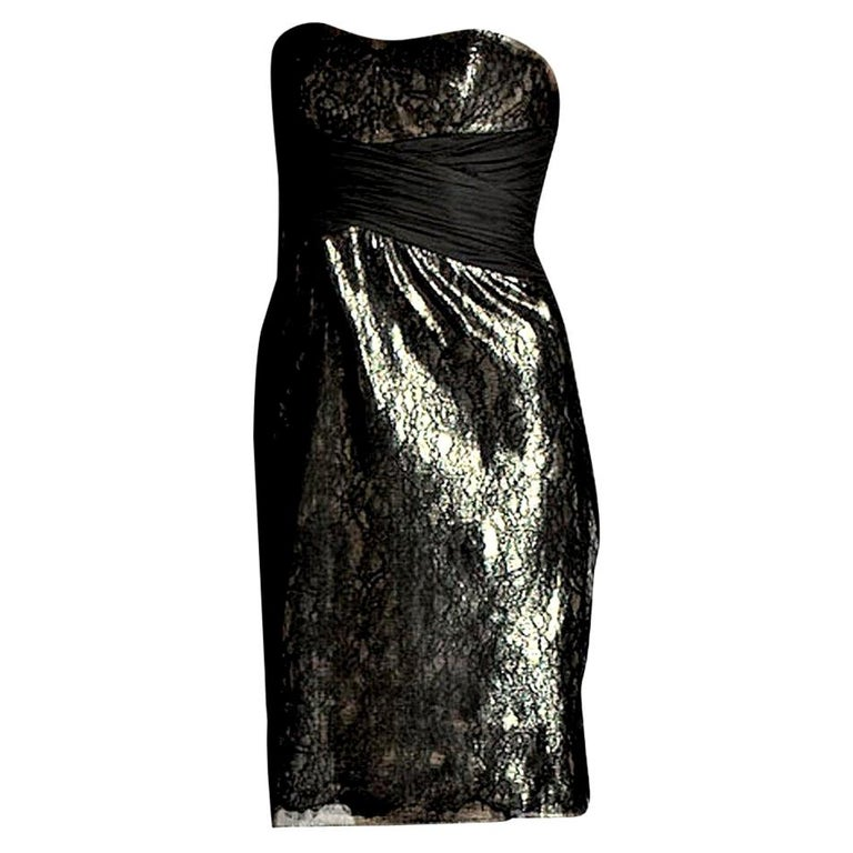 New Badgley Mischka Couture Black Lace and Gold Lame Cocktail Dress Sz 2 For Sale
