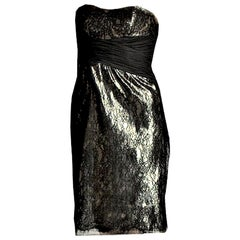 New Badgley Mischka Couture Black Lace and Gold Lame Cocktail Dress Sz 6