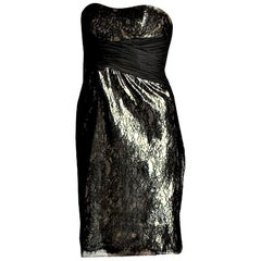 New Badgley Mischka Couture Black Lace and Gold Lame Cocktail Dress Sz 8