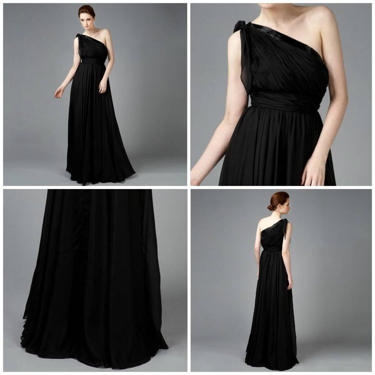 Black New Badgley Mischka Couture Evening Dress Gown Sz 4 For Sale