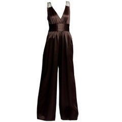 New Badgley Mischka Couture Silk Evening Jumpsuit Dress Gown
