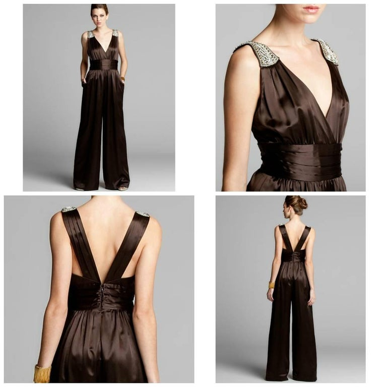 Black New Badgley Mischka New Couture Silk Evening Jumpsuit Dress Gown Sz 6 For Sale