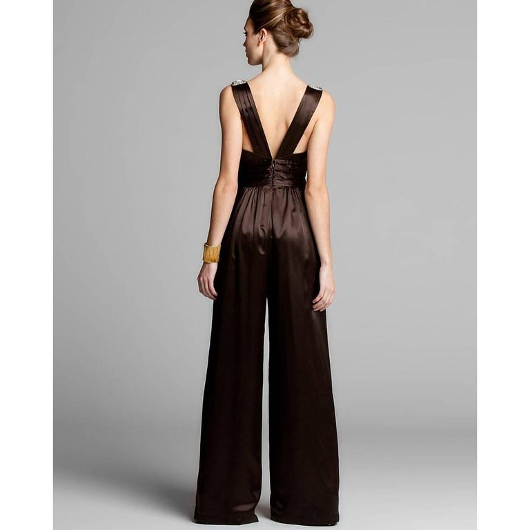 New Badgley Mischka New Couture Silk Evening Jumpsuit Dress Gown Sz 6 In New Condition For Sale In Leesburg, VA