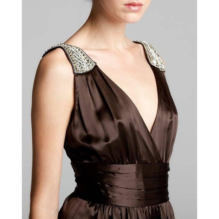 Women's New Badgley Mischka New Couture Silk Evening Jumpsuit Dress Gown Sz 6 For Sale