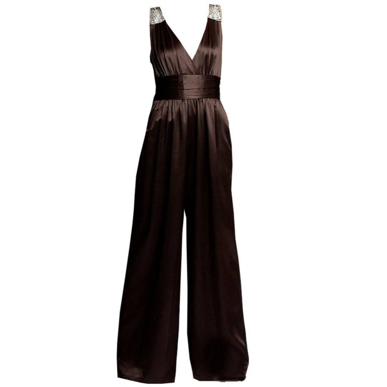 New Badgley Mischka New Couture Silk Evening Jumpsuit Dress Gown