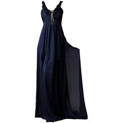 New Badgley Mischka Couture Silk Evening Dress Gown Sz 4