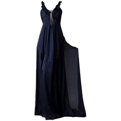 New Badgley Mischka Couture Silk Evening Dress Gown Sz 6