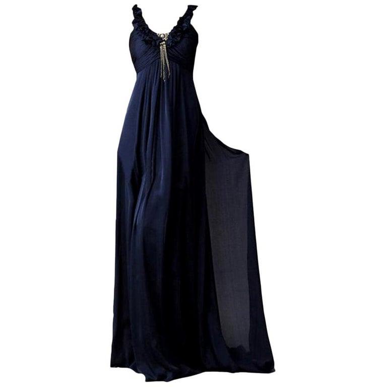 New Badgley Mischka Couture Silk Evening Dress Gown Sz 6 For Sale
