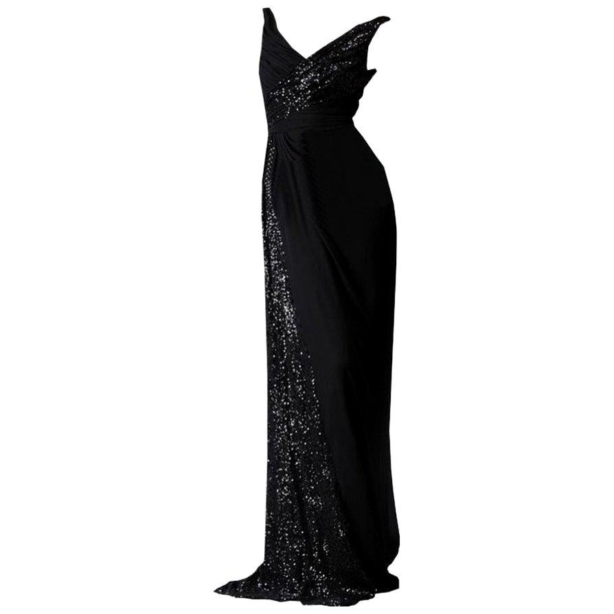 New Badgley Mischka New Couture Beaded Evening Dress Gown Sz 4