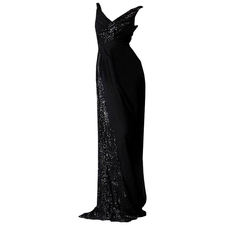 New Badgley Mischka New Couture Beaded Evening Dress Gown Sz 4 For Sale