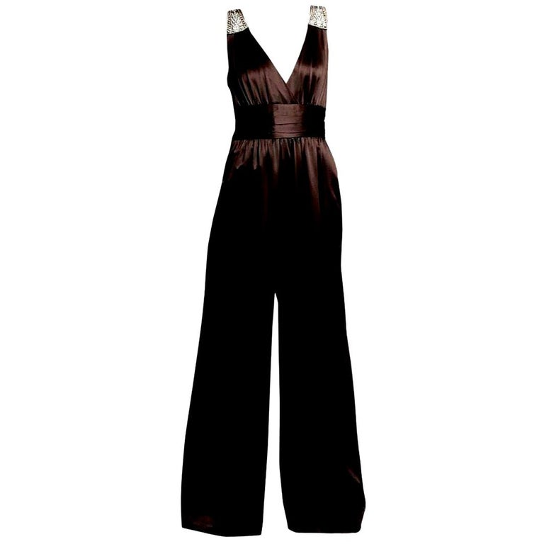 New Badgley Mischka New Couture Silk Evening Jumpsuit Dress Gown Sz 6 For Sale
