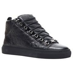 new BALENCIAGA Arena Black Calf high top sneakers EU39 US6 412381 WAY40 1000